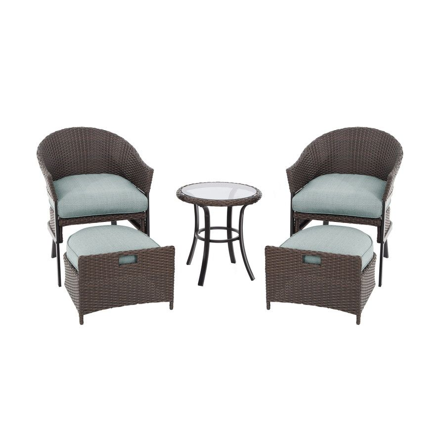 Lovely Perfect Patio Furniture For A Small Patio Space.Garden Treasures South  Point Brown Woven Patio Conversation Set With Cushions.