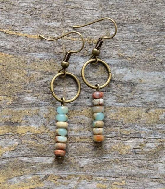 Photo of Vintage Natural Stone Dangle Earrings – King Jasper