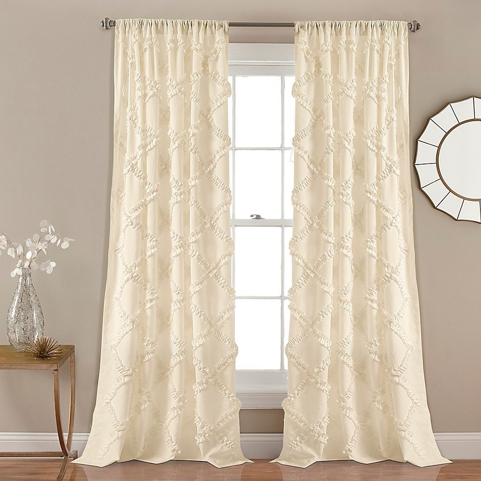 "Ruffle Diamond 84"" Rod Pocket Window Curtain Panel Pair In"