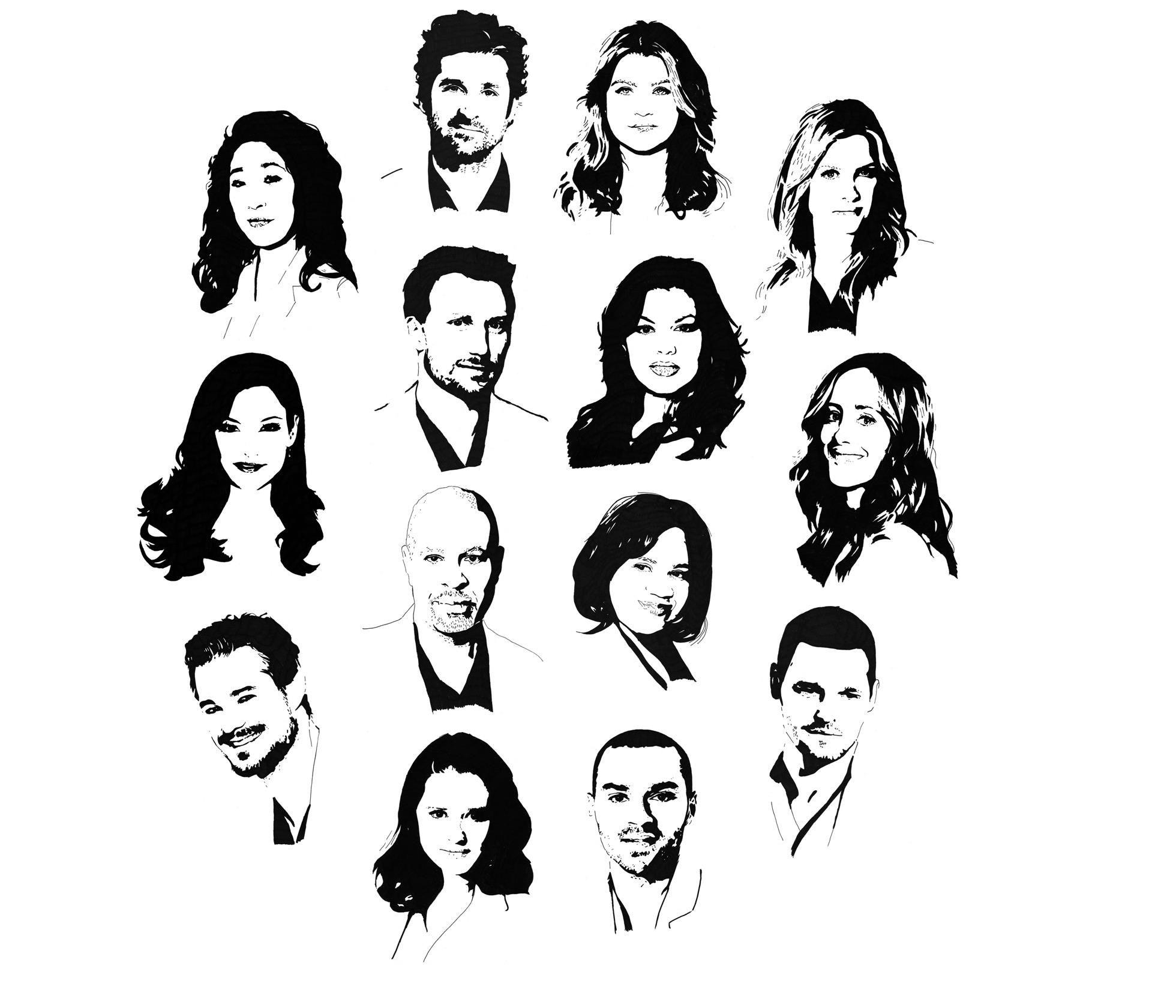 Cristina Yang, Derek Shepherd, Meredith Grey, Arizona Robbins, Owen ...