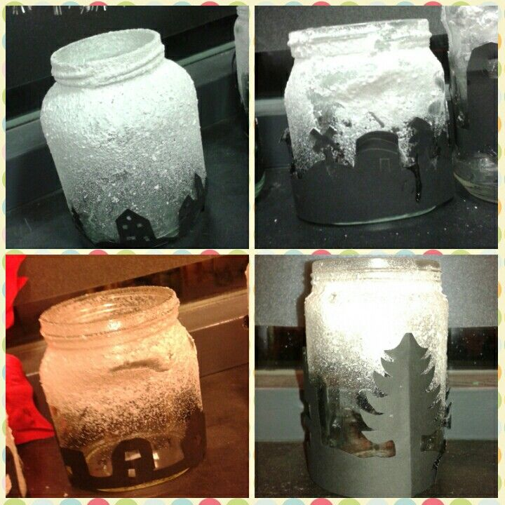 Potjes eerst in spuiten met poeder sneeuw, daarna van zwart papier een patroontje erop plakken, lampje erin en klaar!