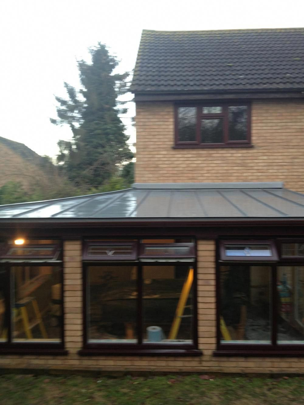 Conservatory Polycarbonate Roof Replaced Using Vm Zinc And Insulation Giving A Replaceyourroofing Roof Styles Zinc Roof Roofing