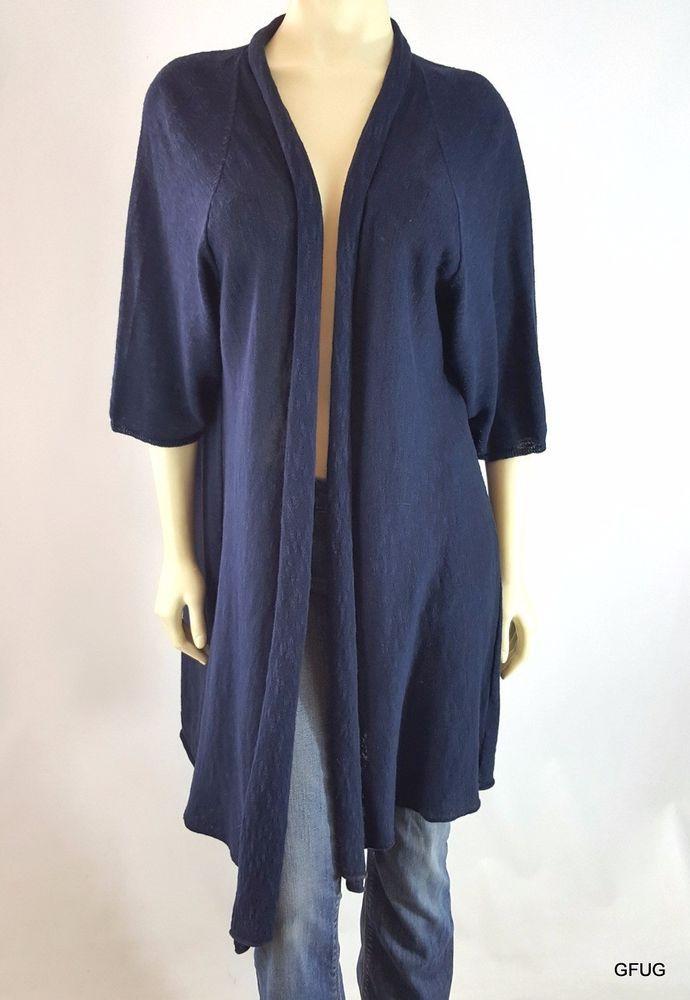 EILEEN FISHER Sz 3X Navy Blue Linen Cotton Knit Open Cardigan Duster Jacket #EileenFisher #Cardigan
