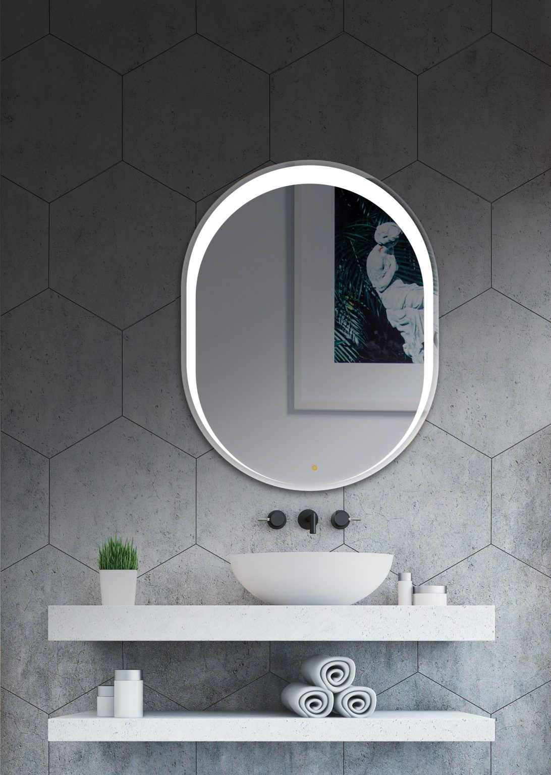 Espejo Bano Forma Oval Con Luz Led Frontal Retroiluminado Diseno