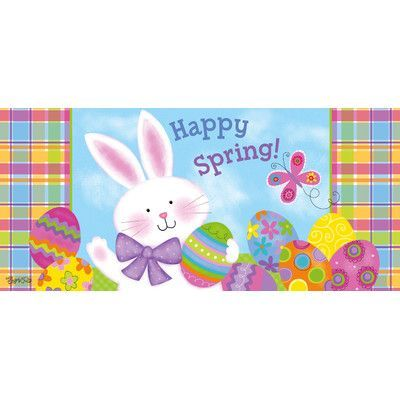 Evergreen Enterprises Inc Colorful Bunny Sassafras Doormat Happy Spring Door Mat Entry Mats