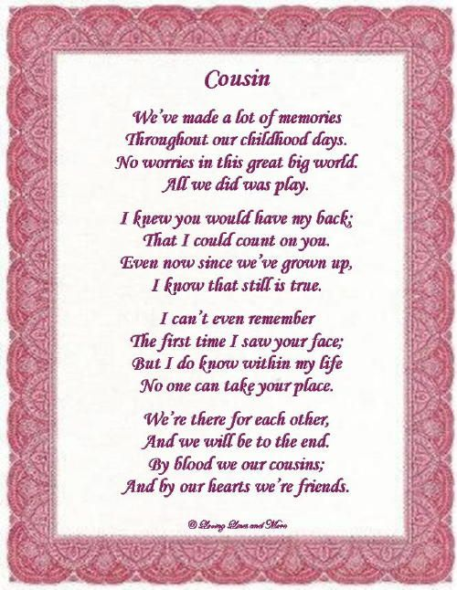 I Love You Cousin Poems To Order And Personalize The Poem Above