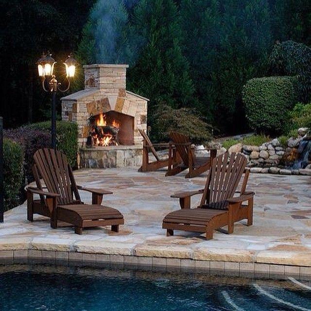 Harika amazing  #pool #night #fireplace #holiday #gece #şömine