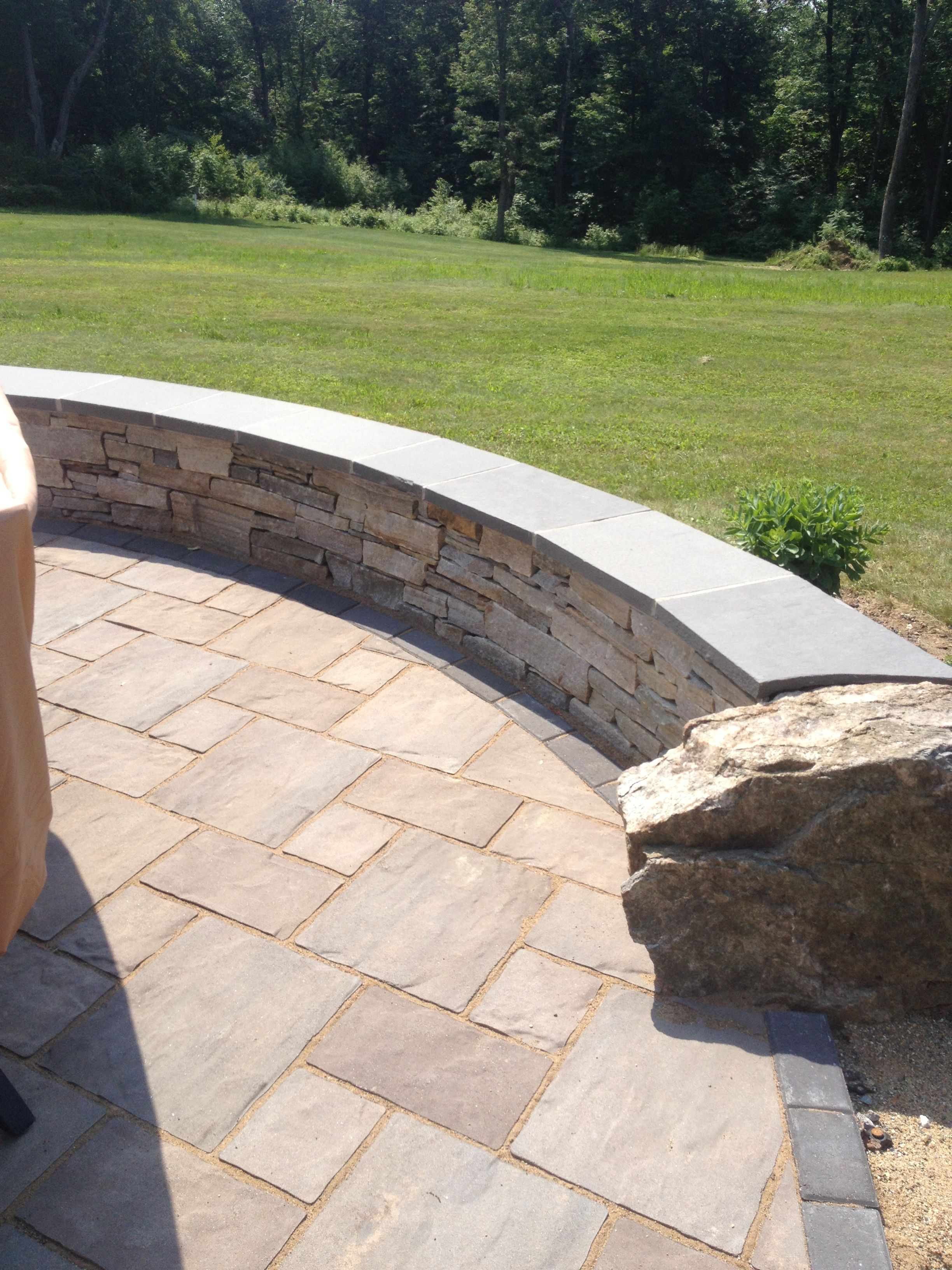 Natural Stone Wall Caps : Natural stone sitting wall with bluestone cap by bahler
