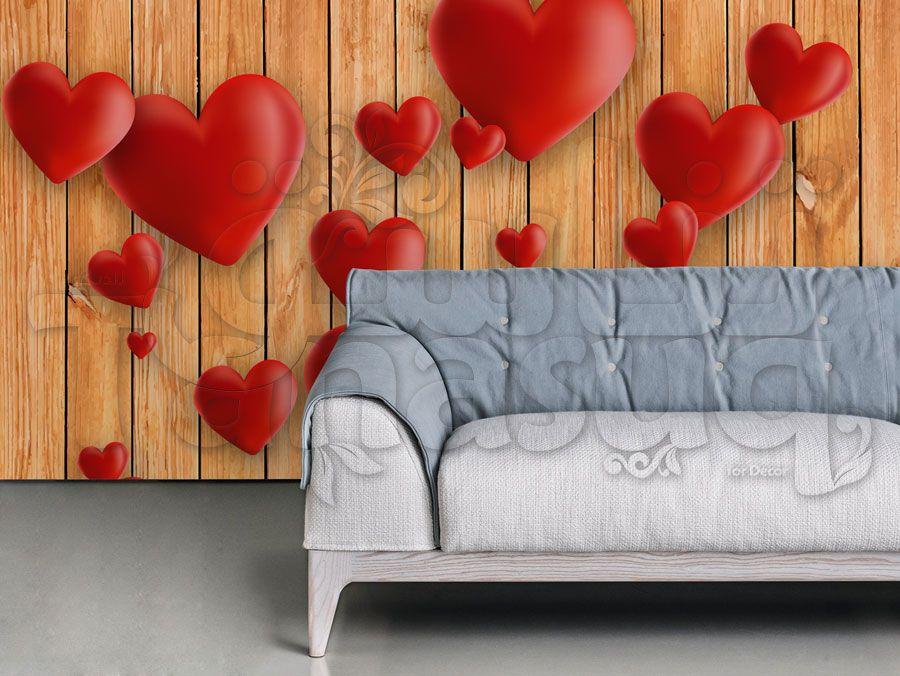 ورق جدران قلوب ثري دي Tanasuq 3d Heart Decor Home Decor
