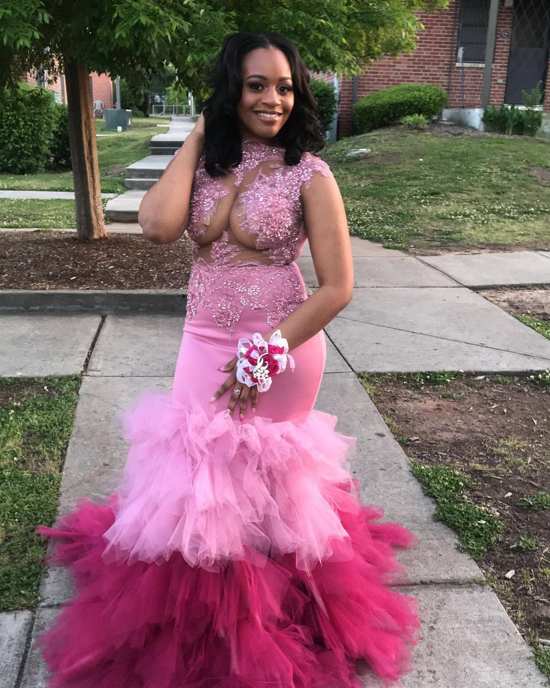 Two piece long prom dresslong sleeves prom dress pink long prom