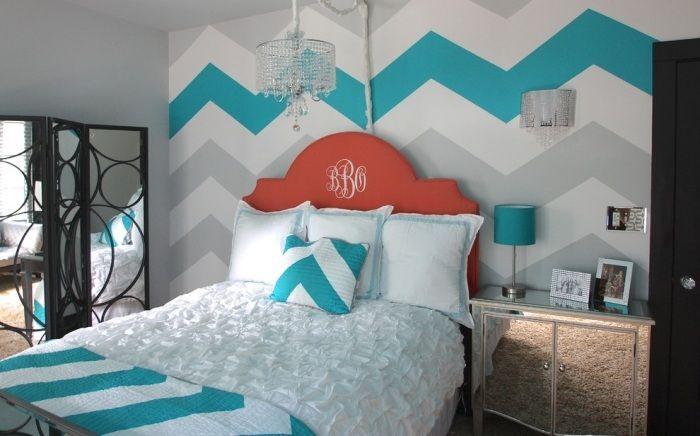 Wohnideen zum Streichen der Wände im Schlafzimmer-Blaue Winkelmuster ...