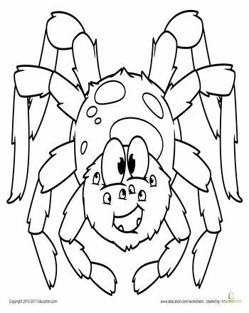 Cute Spider Coloring Page | Worksheets and Spider
