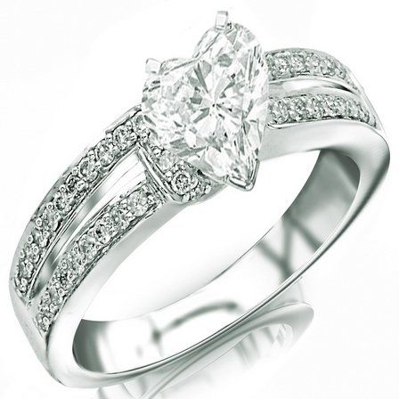 This is so cute!  1.05 Carat Heart Cut / Shape 14K White Gold Twisting Split Shank Contemporary Diamond Engagement Ring ( H-I Color , SI1 Clarity )