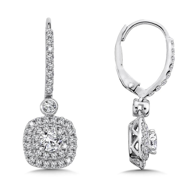 Custom Drop Diamond Earrings : Custom Earrings : Custom