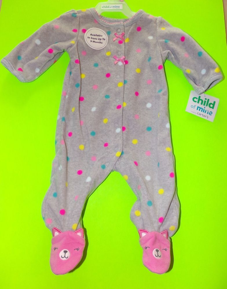 f1aded219 Child Of Mine Carter s Fleece Pink Kitten Footed Sleeper Pajamas NWT ...