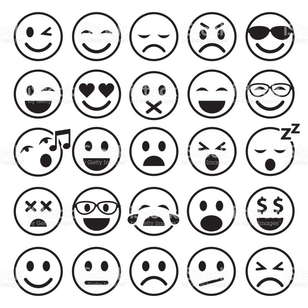 Set of Emoticons. Set of Emoji. Smile line icons. Vector