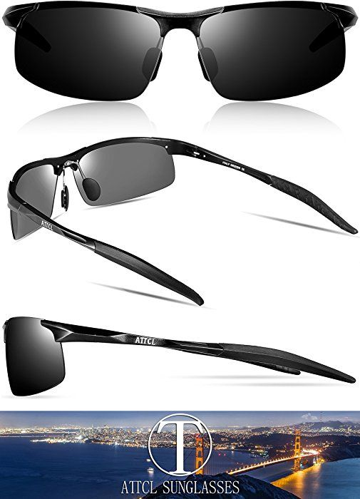 e9886a6f31 ATTCL New Fashion Driving Polarized Sunglasses for Men Unbreakable-metal  Frame 18177black