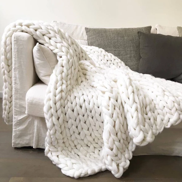 Living Bed Room Soft Blanket Chunky Knit Throw Bulky Thick Yarn Arm Birthday New