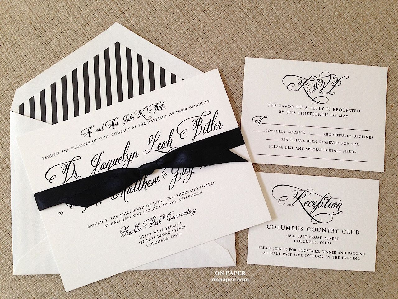 Perfectly Scripted Wedding Invitation For Jacquelyn And Matt