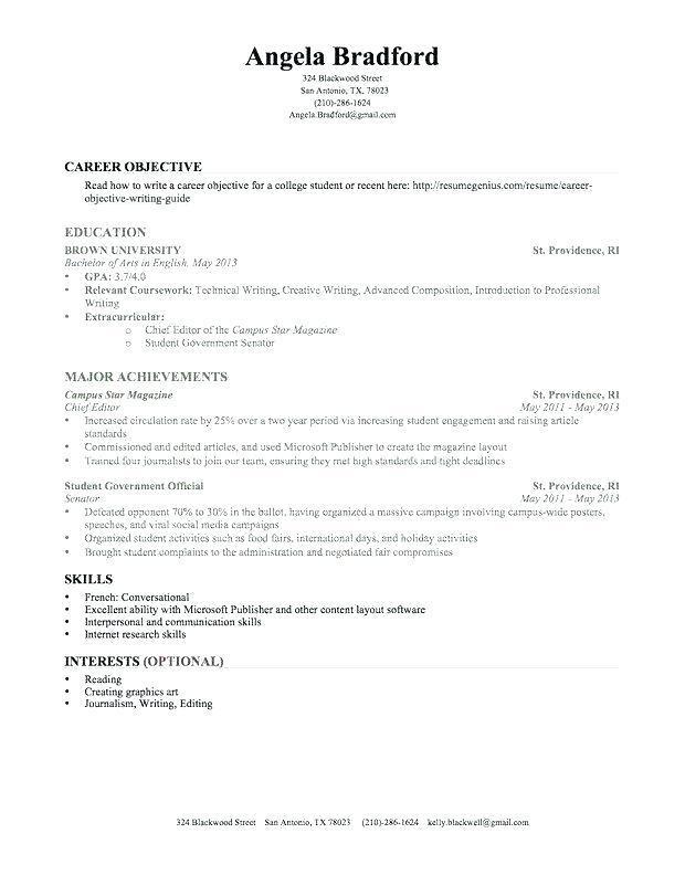 70 unique image of sample resume for summer job college
