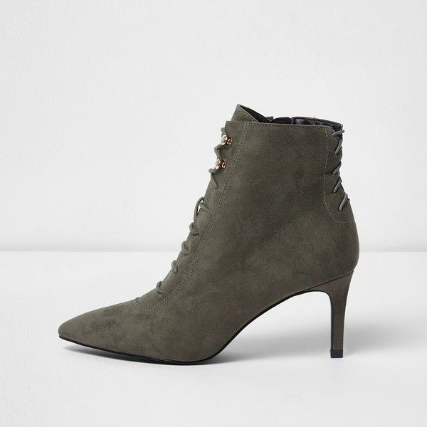 663ac2812eb2 River Island Grey pointed lace-up kitten heel ankle boots ( 110) ❤ liked