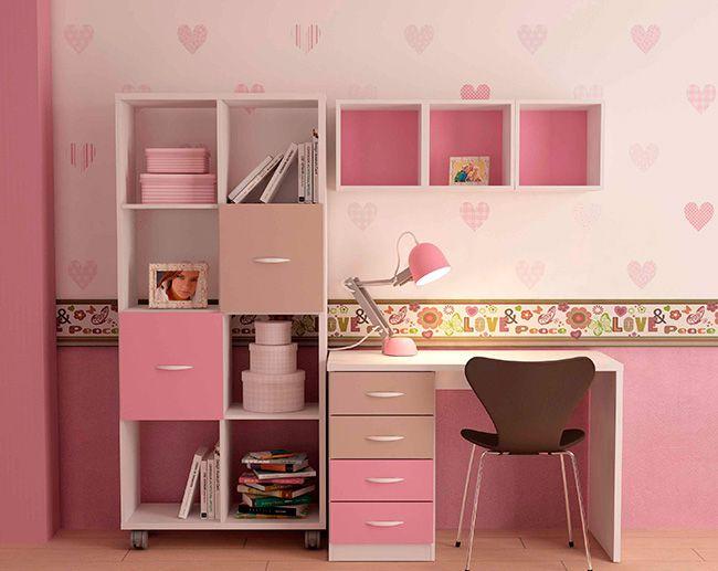 Muebles juveniles con mesas de estudio pr cticas y sencillas combinadas en colores el - Mesas estudio juveniles ...