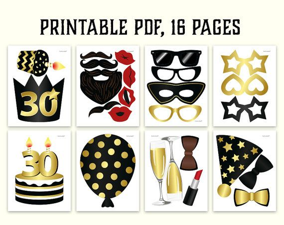 graphic about Photo Booth Props Printable Pdf known as Pin auf 30th
