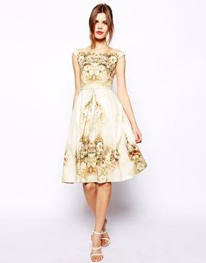 Imagen 4 de Vestido a media pierna con flores vintage Bardot de ASOS