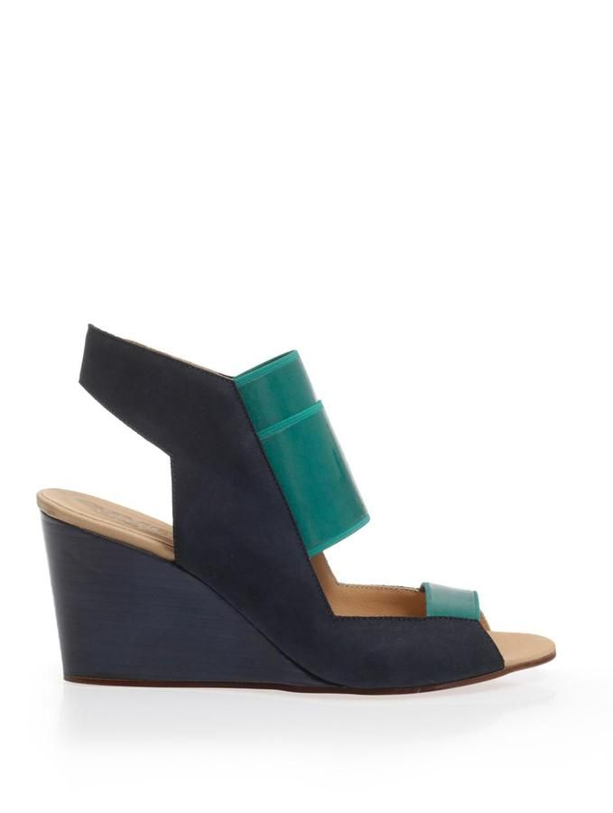 Maison Martin Margiela Rubber and suede wedge sandals on shopstyle.com