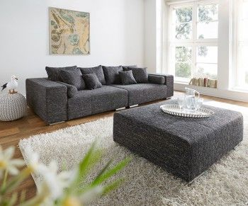 big sofa marbeya 280x115 cm schwarz couch mit hocker bild. Black Bedroom Furniture Sets. Home Design Ideas