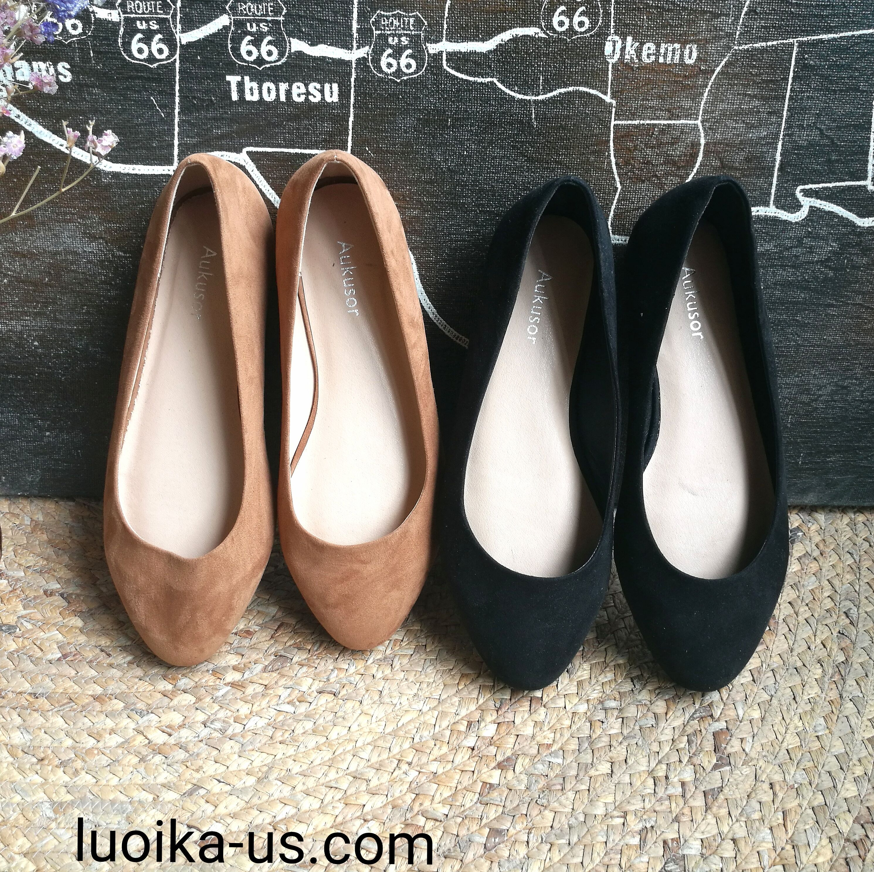 Aukusor Womens Wide Width Ballet Flat Cozy Round Toe Slip On Flat Shoes.