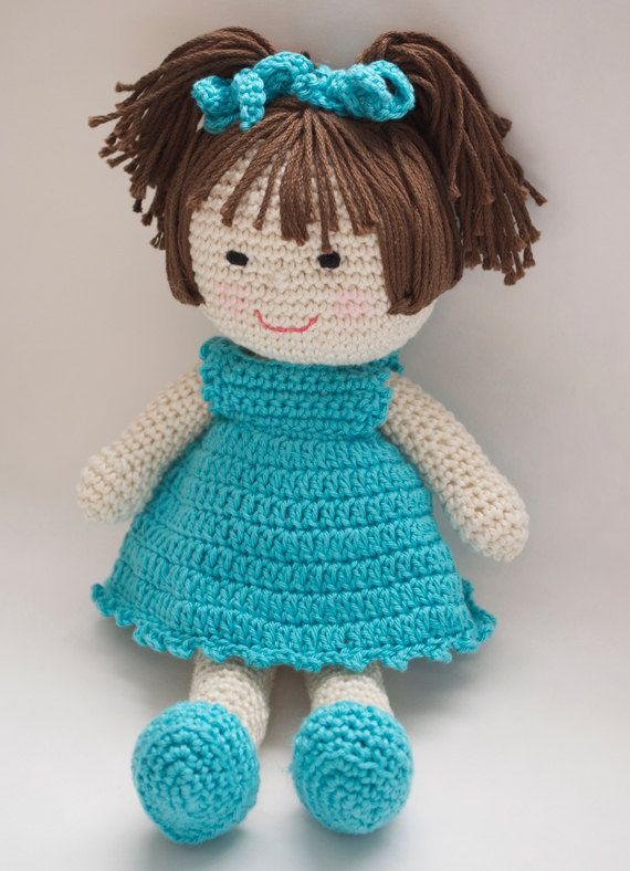 """Crochet Doll Pattern Amigurumi PDF  instant by Crochet365KnitToo ~ what toddler or little girl wouldn't love hugging this cutie! ~ CROCHET ~ approx. 10"""" tall - depends on hook size you use"""