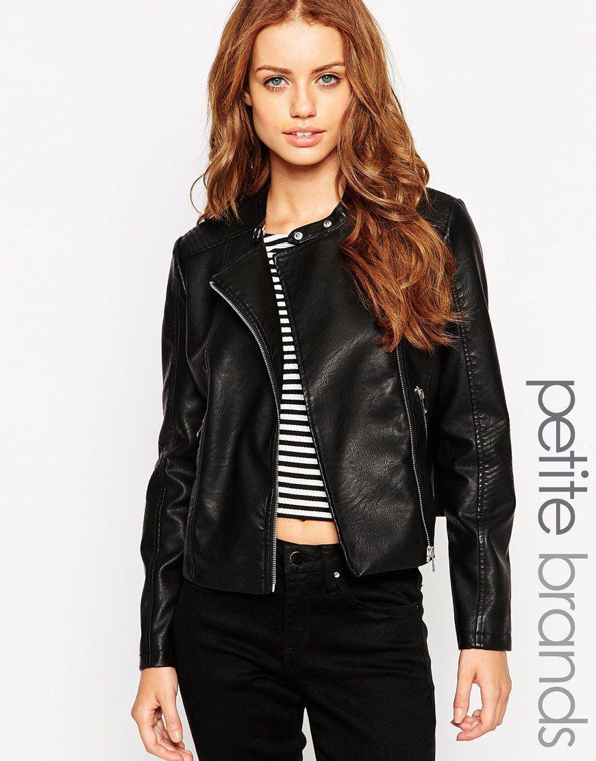 New Look Petite Leather Look Biker Jacket Stylish petite