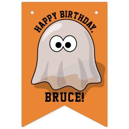 Halloween Birthday Cute Ghosts Custom Name Orange Bunting Flags