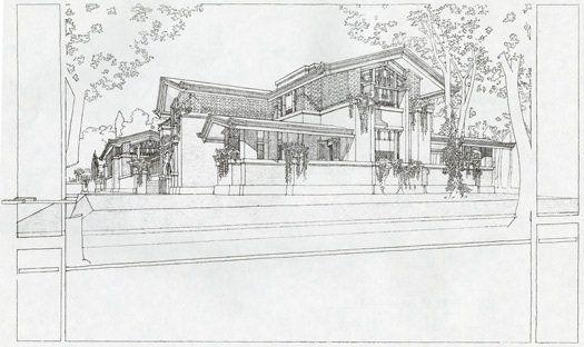 Presentation drawing of Susan Lawrence Dana House