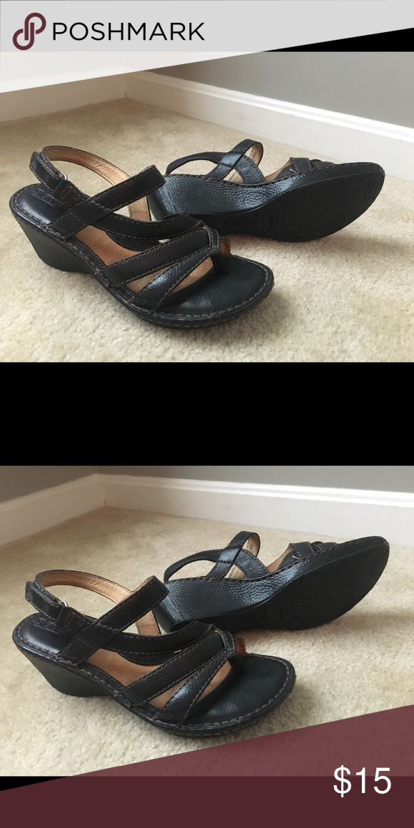 794ee65568f Born black wedge thong sandals Gently used black leather thong wedge  sandals. Style W31566 Born Shoes Sandals