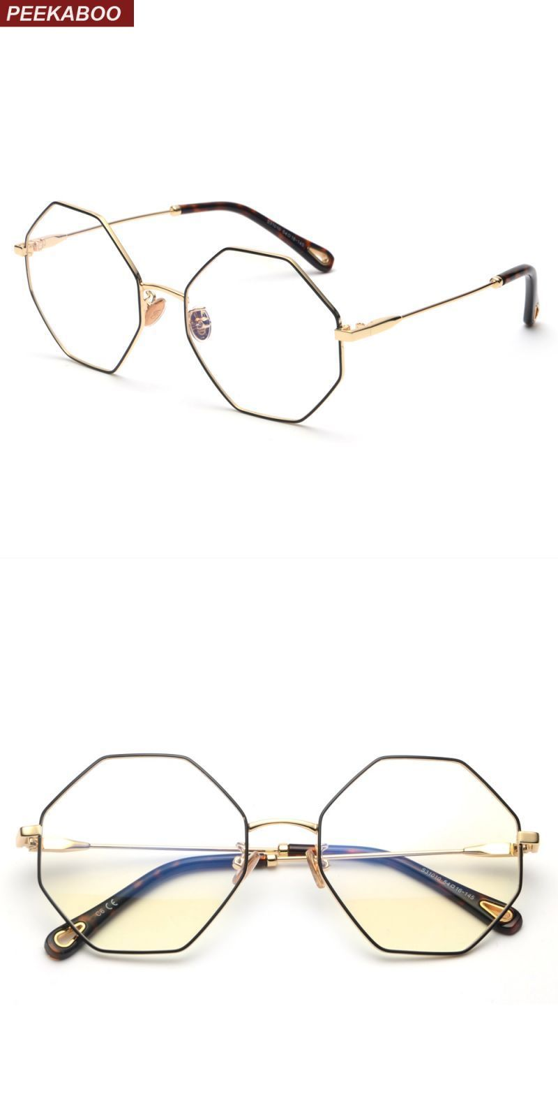 556ee15dc98 Optical eyeglasses frame women vintage 2018 gold metal oversized octagon polygon  glasses for computer protection men