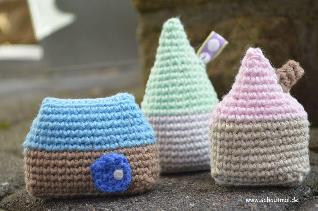 Haeuser. Gratis Häkelanleitung von www.schautmal.de. Free crochet ...