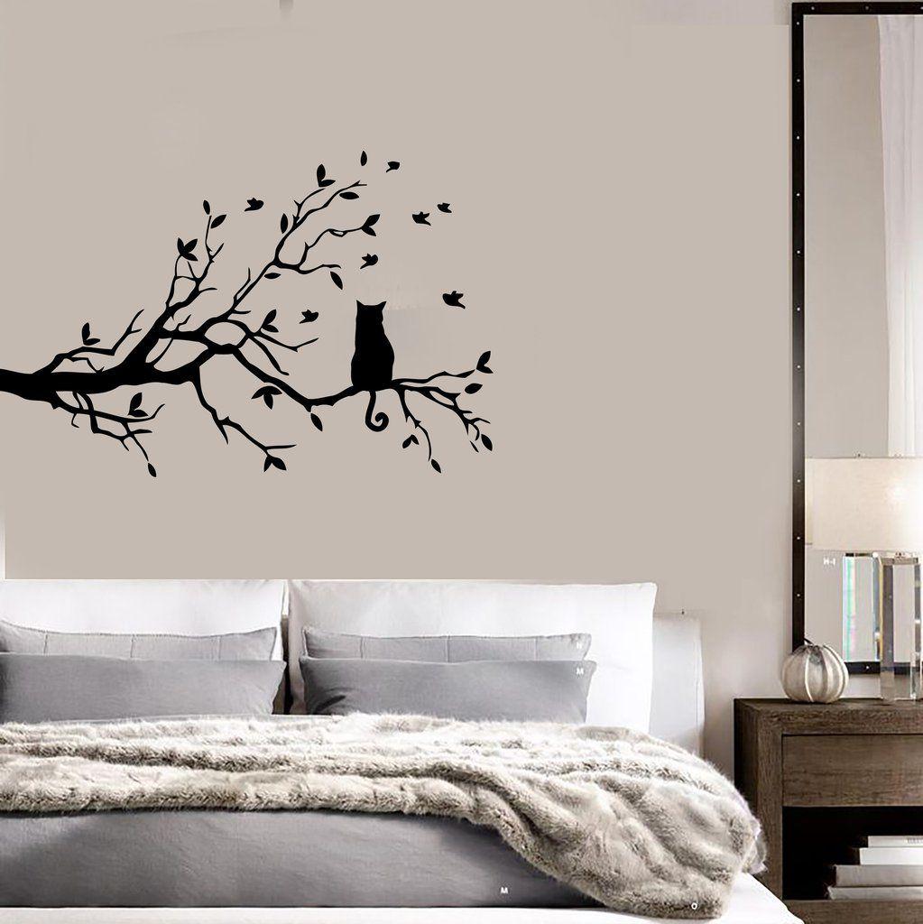 Cat And Tree Floral Pet Dream Positive Mural Wall Art Decor Vinyl - Custom vinyl wall decals cats