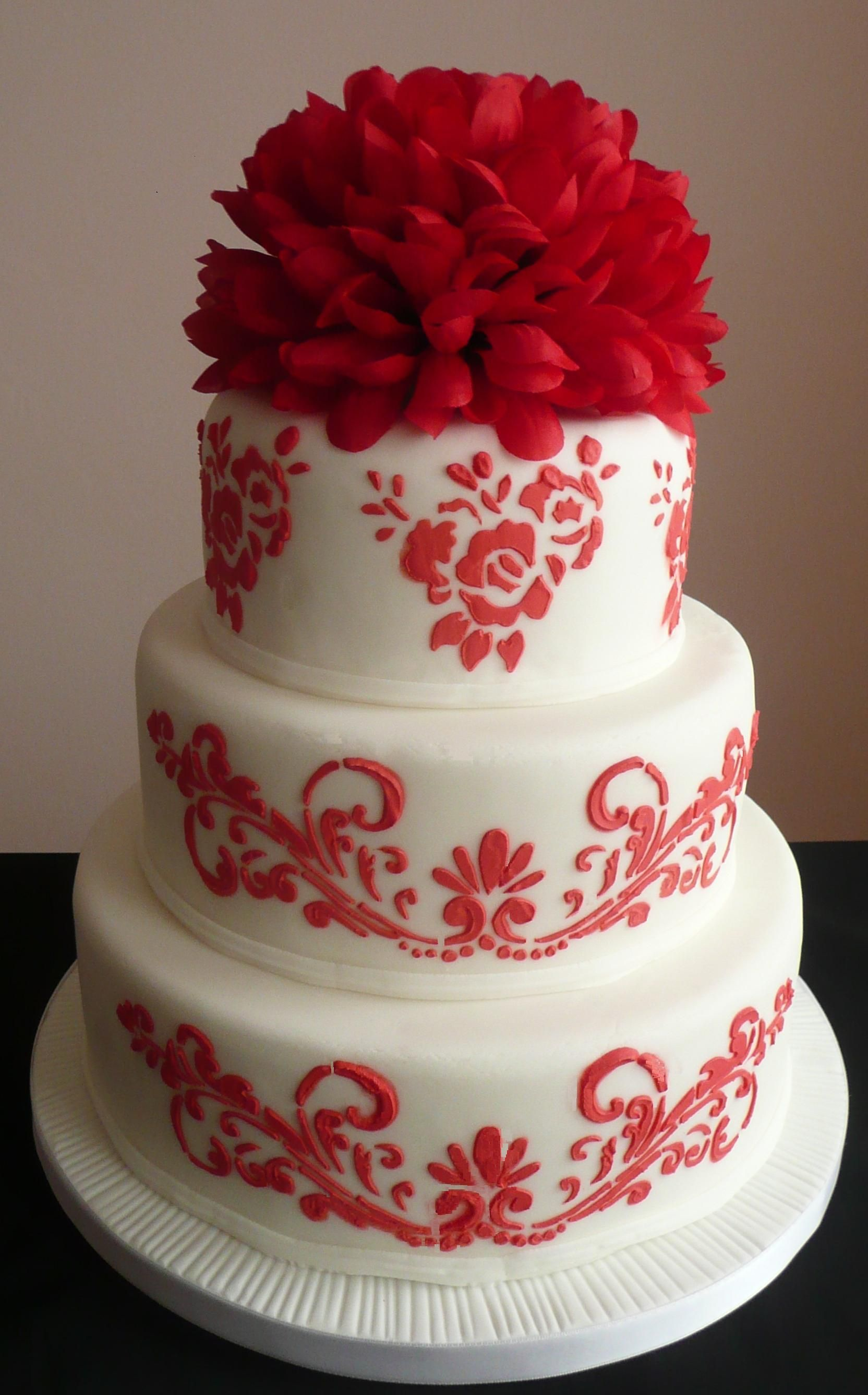 Red & White Wedding Cake by Cakes Just 4 U