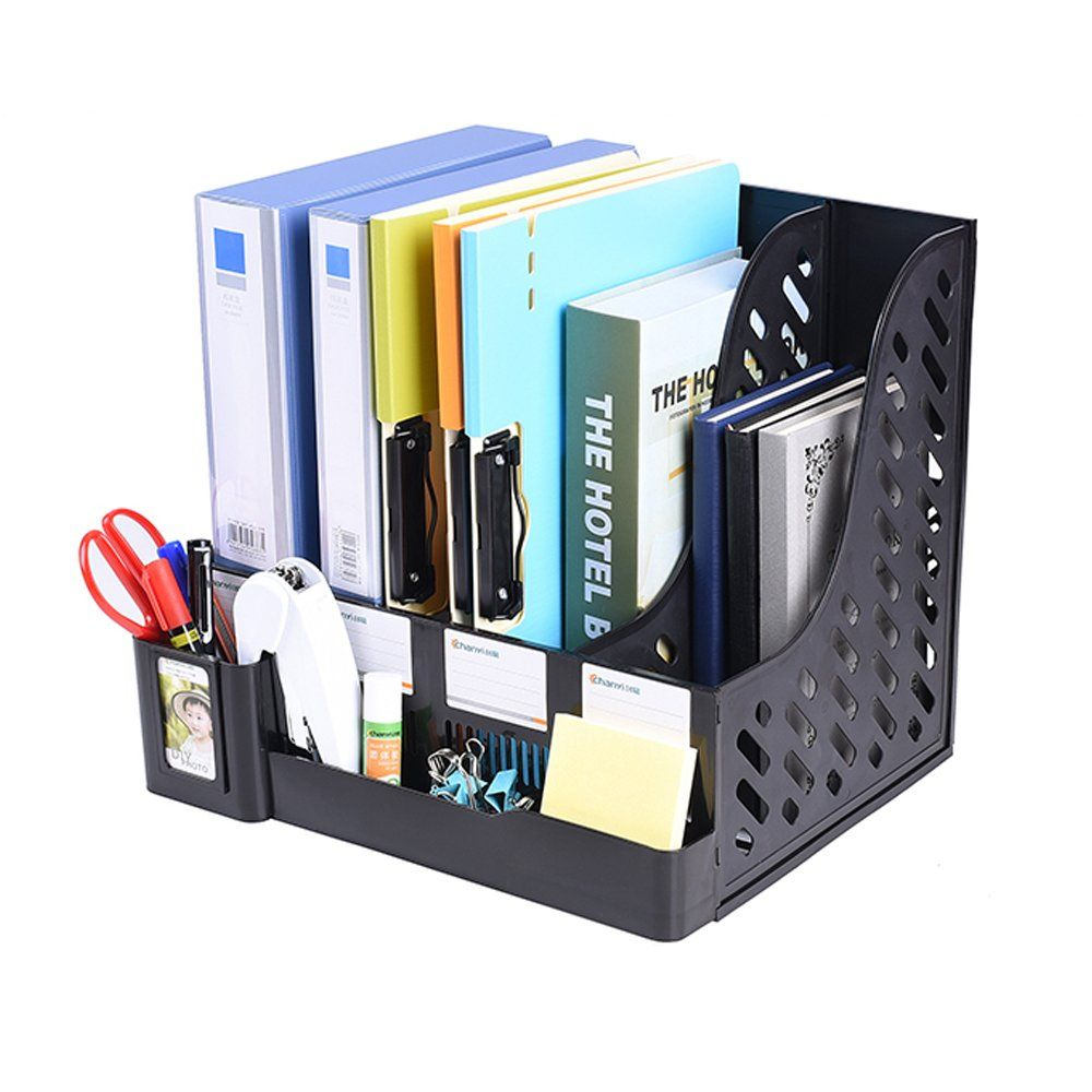 Captivating Multifunction Storage Four Sections File Rack Paper Magazine Holder Home  Office Desk Book Sorter Storage Hanger