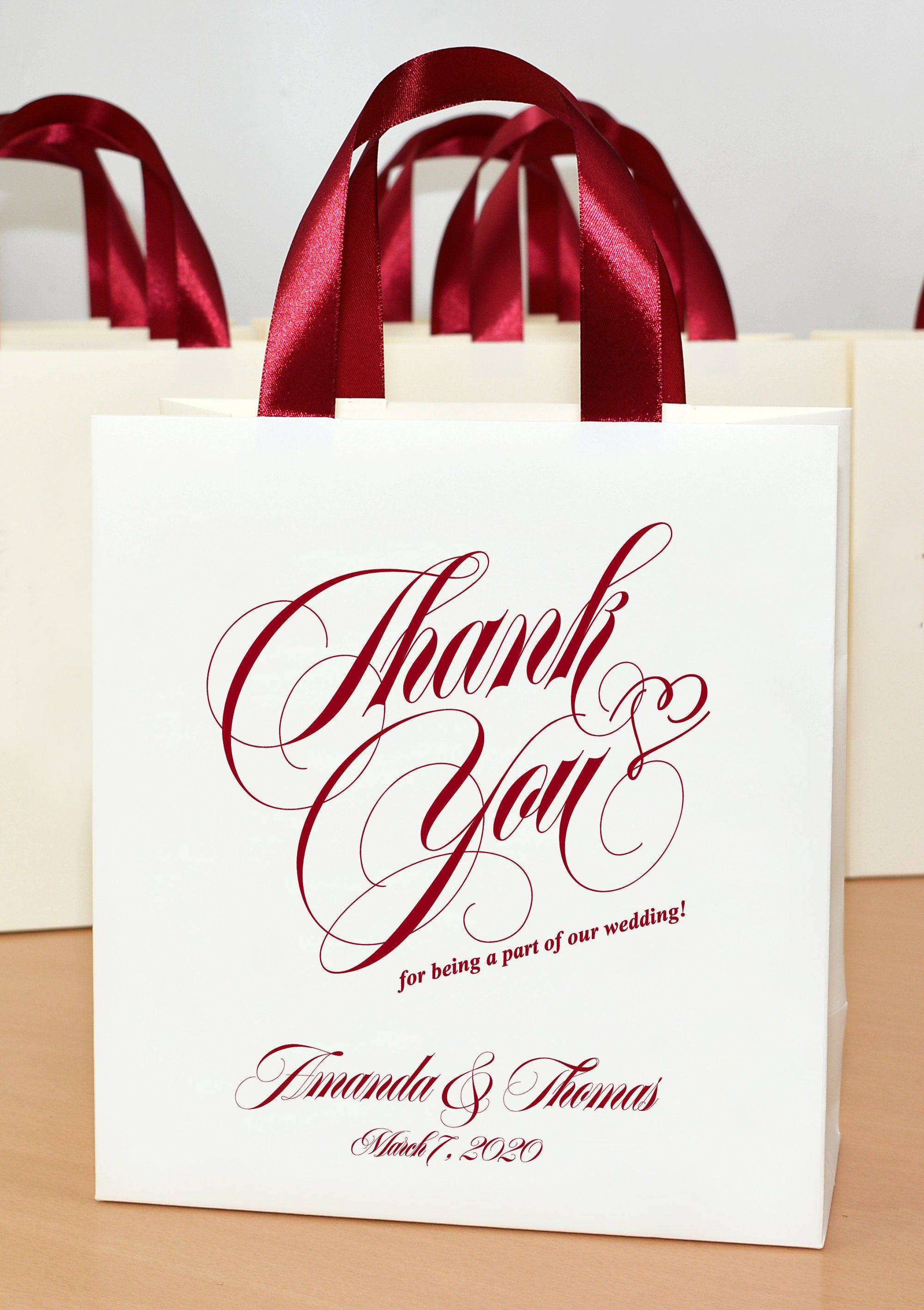 25 Coral Wedding Welcome Bags with satin ribbon handles and your names Elegant Personalized wedding Thank You favors for your guests