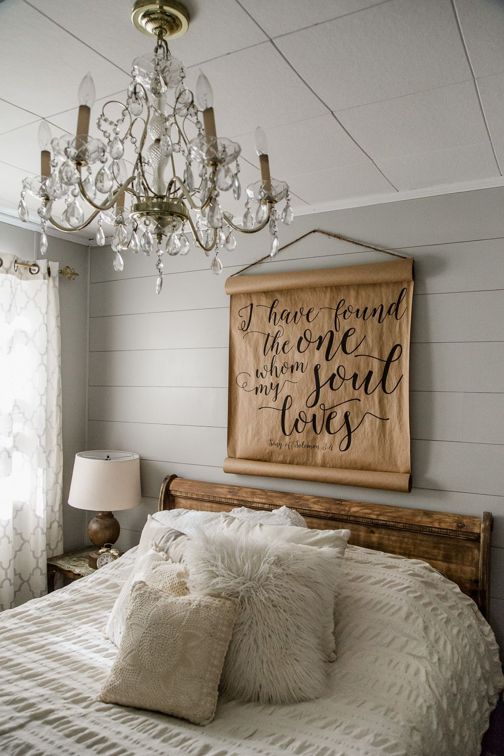 DIY Shiplap Farmhouse Bedroom Wall, via www