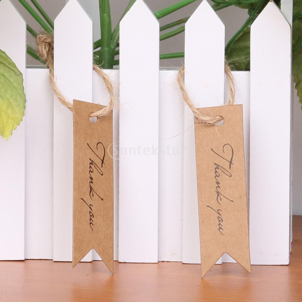 100pcs Rectangle Thank you Kraft Paper Tag Wedding Bonbonniere Gift ...