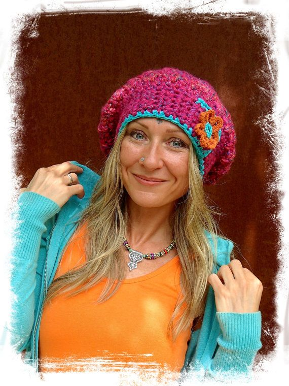 cc7a6b792ad Hippy Chic Style · Hot Pink JUMBO SLOUCHY Beanie hat crochet slouch hat by  GPyoga Slouchy Beanie Hats