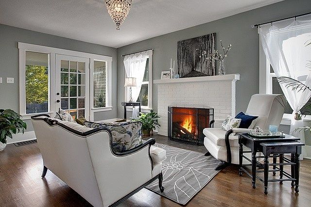 I want to do a grey accent wall and white brick fireplace - White fireplace living room ideas ...