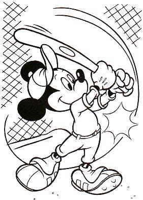 Mickey Mouse baseball coloring page Baseball Pinterest Mickey