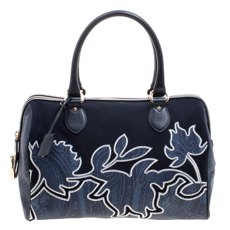 44e89765069c Etro Navy Blue Paisley Embroidered Coated Canvas Satchel - Buy & Sell - LC