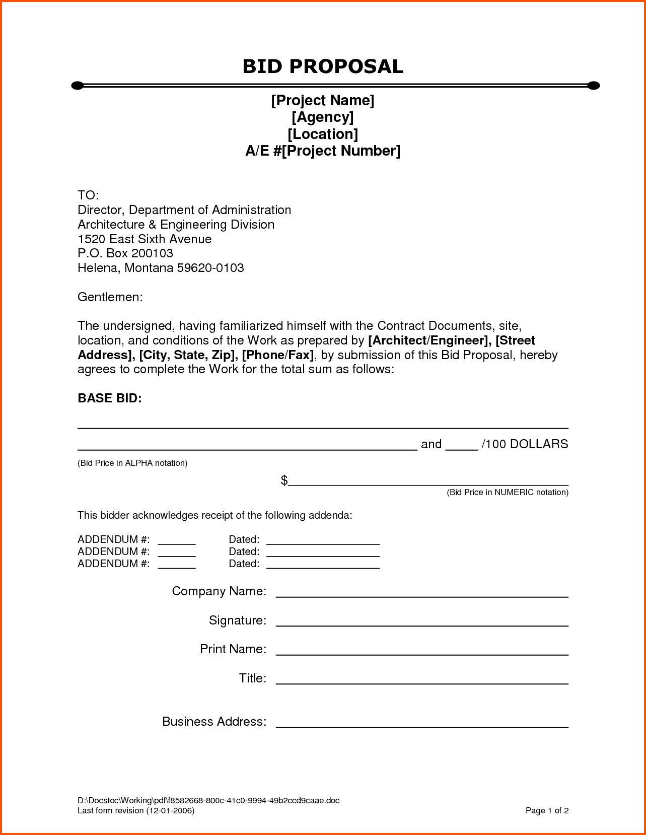 Bid Proposal Cover Letter