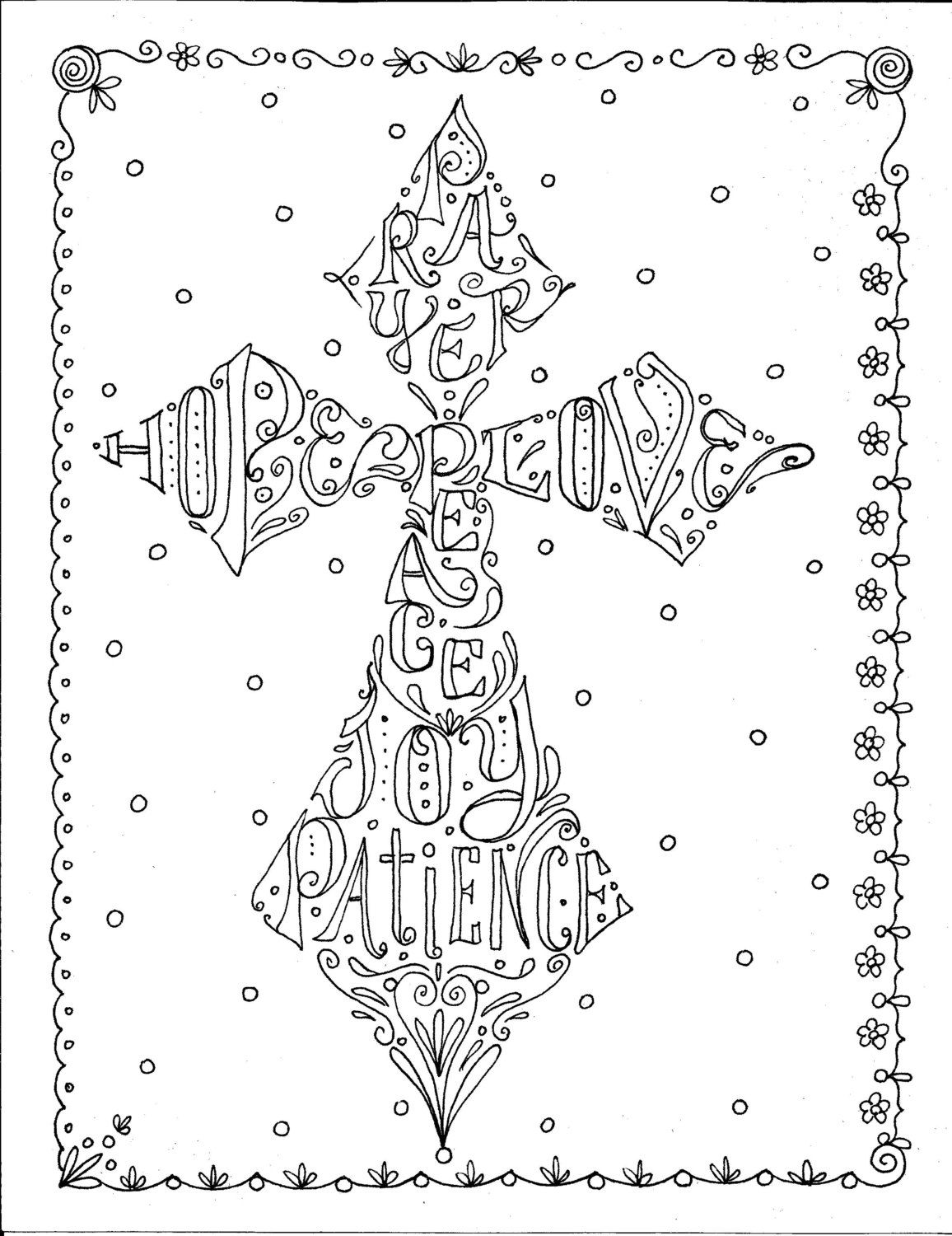 Coloring pages for adults crosses - Instant Download Cross Scripture Coloring Page